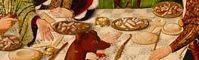 Maestro de los Balbases. Santo Tomás en la India. 1495 Detalle alimentos y utensilios