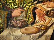 Maestro de los Balbases. Santo Tomás en la India. 1495 Detalle cuchillo