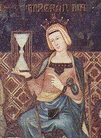 Ambrogio Lorenzetti -Temperance con reloj de arena en la mano