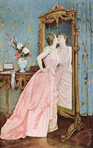 In The Mirror Painting by Auguste Toulmouche; In The Mirror Art Print for sale