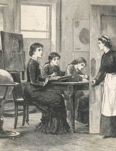 A Governess and her pupils are interrupted by the maid entering the room Date: 1882 Source: Unattributed in Cassell's Magazine