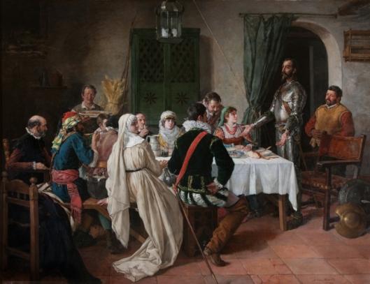un-cuadro-representando-al-quijote-hablando-en-una-mesa